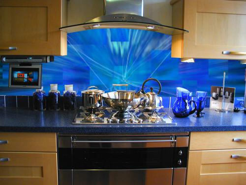 Kitchen worktops with glass splash back.
